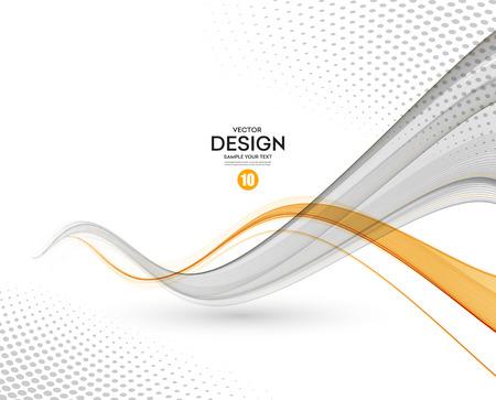 Illustration pour Abstract vector background, gray and orange waved lines for brochure, website, flyer design.  illustration eps10 - image libre de droit