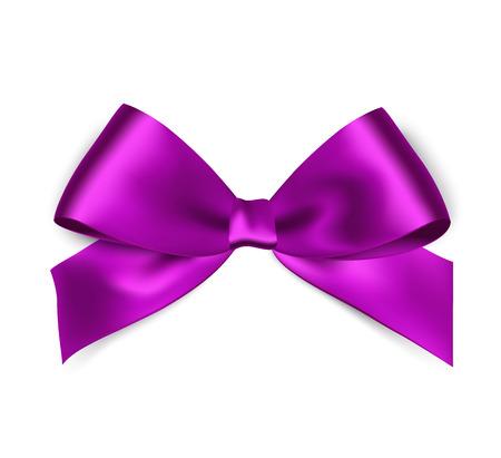 Illustration pour Shiny purple satin ribbon on white background. Vector red bow and ribbon. - image libre de droit