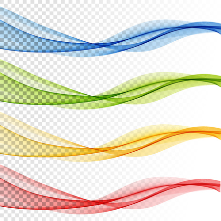 Illustration pour Set of Abstract vector wave, color flow waved lines for brochure, website, flyer design. Transparent smooth wave - image libre de droit
