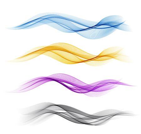 Illustration pour Vector Set of color abstract wave design element. Abstract background, color flow waved lines for brochure, website, flyer design. Transparent smooth wave. Purple, gold, blue - image libre de droit