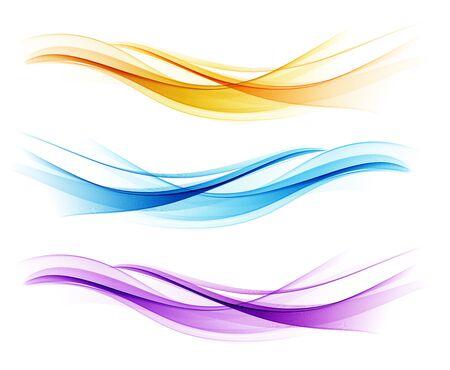 Illustration pour Set of color abstract wave design element - image libre de droit