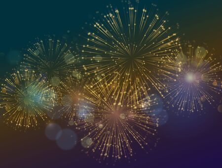 Illustration pour Vector Holiday Fireworks Background. Happy New Year, Independence Day festive background - image libre de droit
