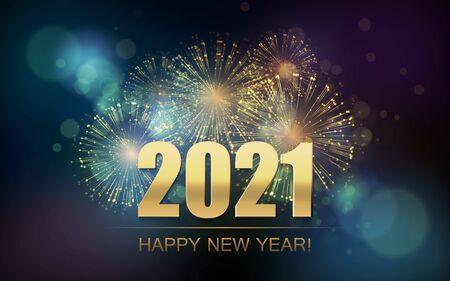 Ilustración de 2021 New Year Abstract background with fireworks - Imagen libre de derechos