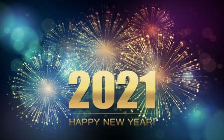 Illustration pour 2021 New Year Abstract background with fireworks. Vector - image libre de droit