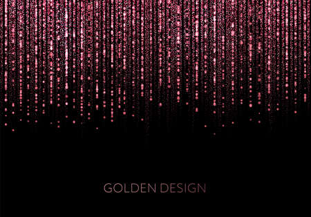 Illustration for curtain of golden particles on a black background - Royalty Free Image
