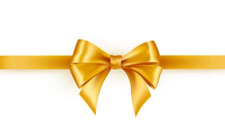 Illustration pour Shiny gold satin ribbon on white background - image libre de droit