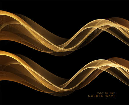 Photo pour Abstract shiny color gold wave design element - image libre de droit