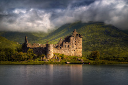 Kilchurn Castle reflections in morning light, Highlands, Scotland