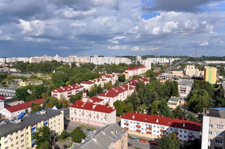 Grodno Panorama. Red roofs of the city against the cloudy sky. Belarus.