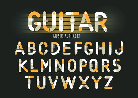 Illustration pour Concept of vector geometric alphabet. Theme of guitar, musical instruments, steam punk. - image libre de droit
