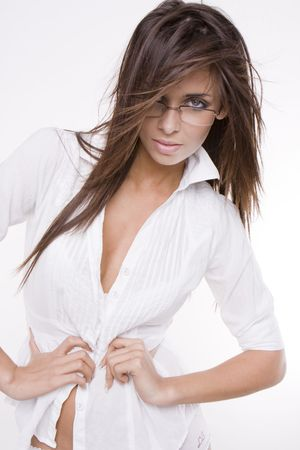 sexy woman wearing glasses and white shirt の写真素材