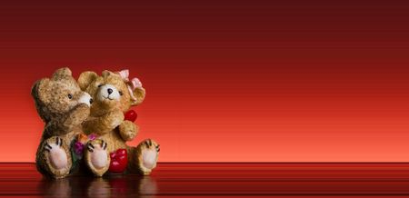 Photo for Valentine Concept -teddy bear couple  onr ed  background - postcard - Royalty Free Image