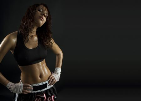 Foto de sexy brunette fitness wet woman after workout - Imagen libre de derechos