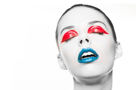 Photo for High fashion look.glamor closeup beauty portrait of beautiful sensual Caucasian young woman model with  blue lips and red eye liner - Royalty Free Image