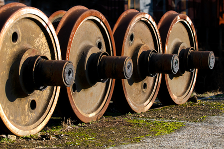 old rusty wheels of a train, locomotives wheels
