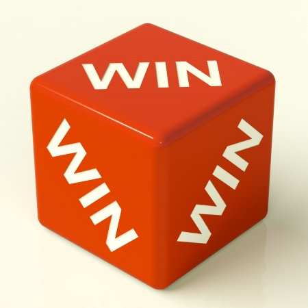 Win Red Dice Representing Champion And Success