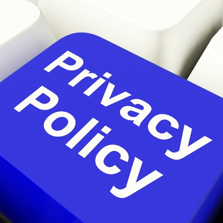Privacy Policy Computer Key In Blue Showing Company Data Protection Term