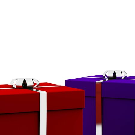 Red And Blue Gift Boxes With White Background As Present For Him And Her