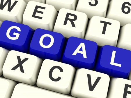 Goals Computer Keys Showing Objectives Hopes And Future