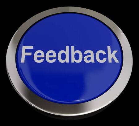 Feedback Button In Blue Showing Opinion And Surveys