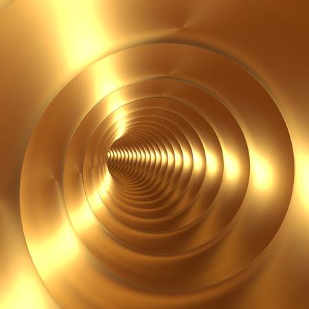 Golden Vortex Abstract Background With Twirling Twisting Spiral