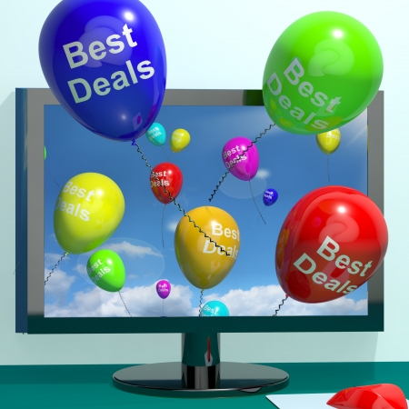 Best Deals Balloons From Computer Representing Bargains And Discounts Online