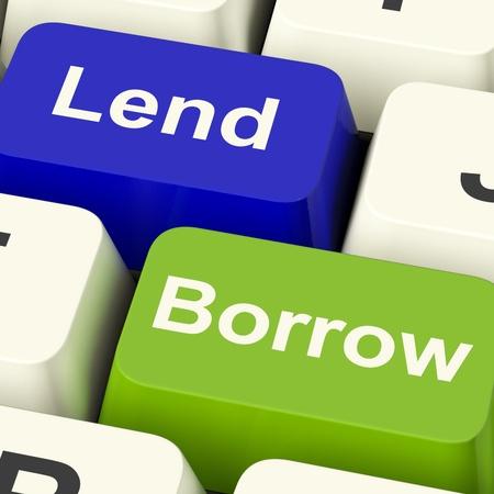 Lend And Borrow Keys Shows Borrowing Or Lending On The Internet