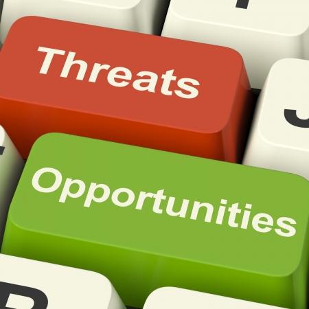 Photo pour Threats And Opportunities Computer Keys Showing Business Risks Or Improvements - image libre de droit