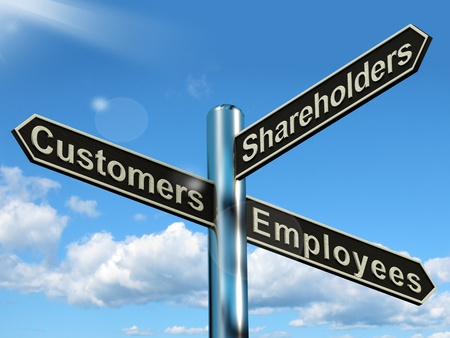 Customers Employees Shareholders Signpost Shows Company Organization