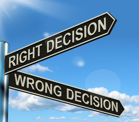 Right Or Wrong Decision Signpost Shows Confusion Outcome And Counceling