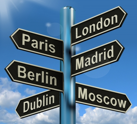 London Paris Madrid Berlin Signpost Shows Europe Travel Tourism And Destinations
