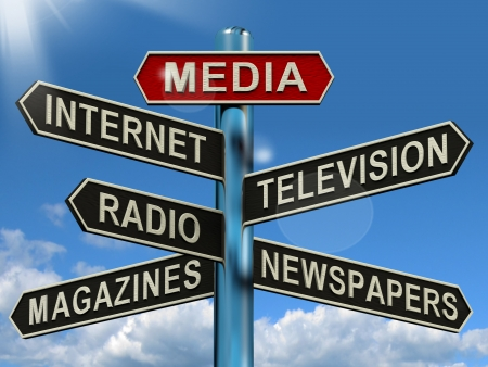 Photo for Media Signpost Shows Internet Television Newspapers Magazines And Radio - Royalty Free Image