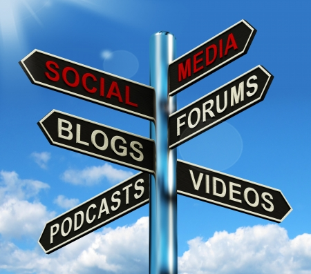 Photo for Social Media Signpost Showing Information Support And Communication - Royalty Free Image