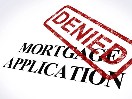 Mortgage Application Denied Stamp Showing Home Finance Refused