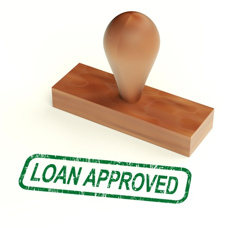 Loan Approved Rubber Stamp Showing Credit Borrowing Ok