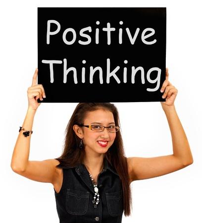 Photo pour Positive Thinking Sign Showing Optimism Or Belief - image libre de droit