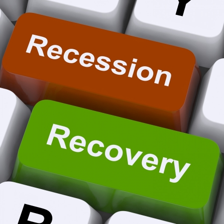 Recession And Recovery Keys Showing Upturn Or Downturn