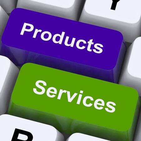 Products And Services Keys Showing Selling And Buying Online
