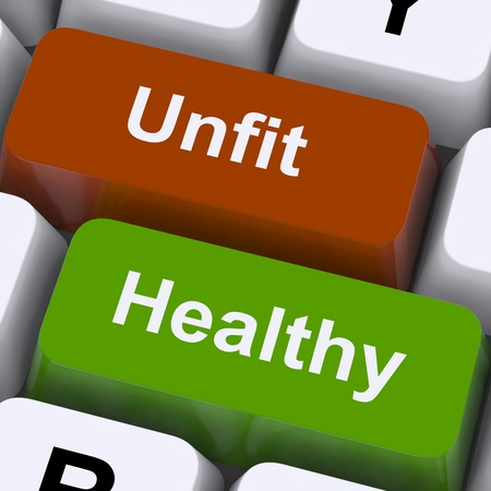 Healthy And Unfit Keys Showing Good And Bad Lifestyle