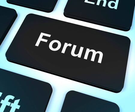Forum Computer Key Shows Social Media Community Or Information