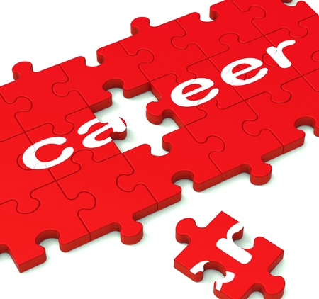 Career Puzzle Showing Working Plans And Employment Pathway
