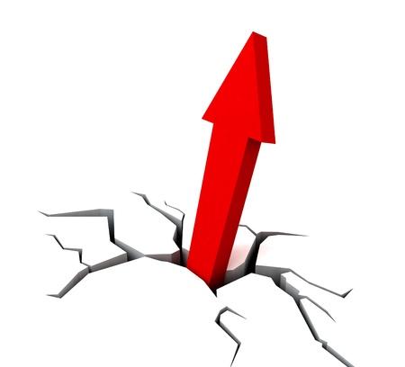 Red Upward Arrow Showing Breakthrough Profit Achievement