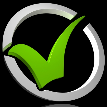 Green Tick Circled Showing Quality Excellence Approved Passed Satisfied