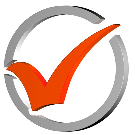 Orange Tick Circled Showing Quality Verified Approved Passed Good