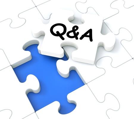 Photo pour Q&A Puzzle Shows Frequently Asked Questions And Answers  - image libre de droit