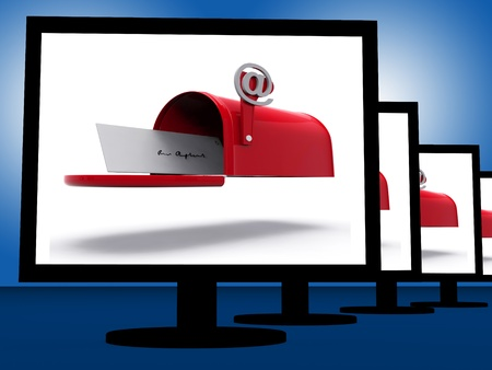 Mailbox On Monitors Shows Digital Correspondence Or Delivered Emails
