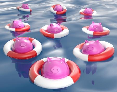 Piggybanks On Lifesavers Showing Monetary Help Or Loans