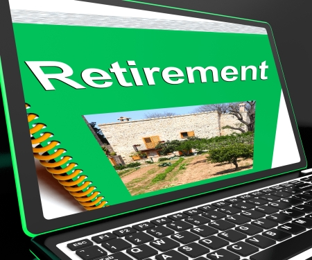 Retirement Book On Laptop Showing Pension Plans And Elderly Advices