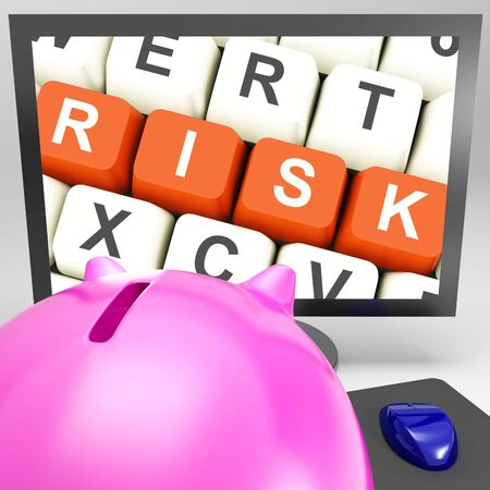 Risk Keys On Monitor Showing Investment Risks And Economy Crisis