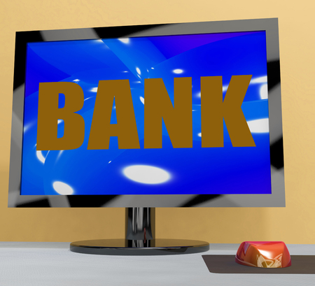 Bank On Monitor Showing Online Or Electronic Banking